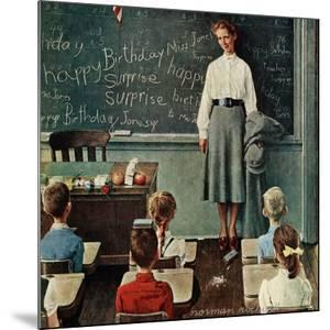 """""""Happy Birthday, Miss Jones"""", March 17,1956 by Norman Rockwell"""