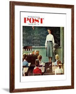 """Happy Birthday, Miss Jones"" Saturday Evening Post Cover, March 17,1956 by Norman Rockwell"