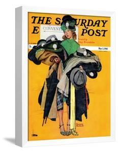 """""""Hatcheck Girl"""" Saturday Evening Post Cover, May 3,1941 by Norman Rockwell"""