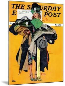 """Hatcheck Girl"" Saturday Evening Post Cover, May 3,1941 by Norman Rockwell"