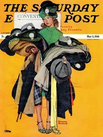 """""""Hatcheck Girl"""" Saturday Evening Post Cover, May 3,1941"""