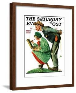 """""""Hayseed Critic"""" Saturday Evening Post Cover, July 21,1928 by Norman Rockwell"""
