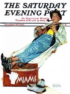 """Hitchhiker to Miami"" Saturday Evening Post Cover, November 30,1940 by Norman Rockwell"