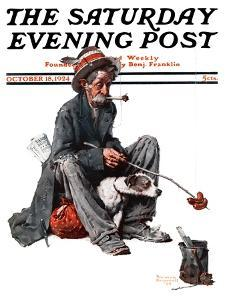 """""""Hobo"""" Saturday Evening Post Cover, October 18,1924 by Norman Rockwell"""