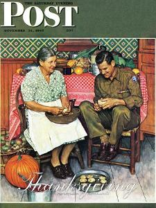 """Home for Thanksgiving"" Saturday Evening Post Cover, November 24,1945 by Norman Rockwell"