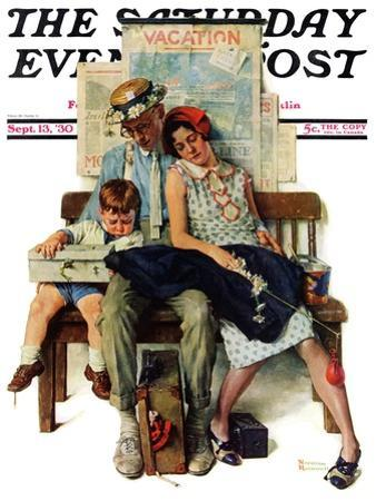 """""""Home from Vacation"""" Saturday Evening Post Cover, September 13,1930 by Norman Rockwell"""