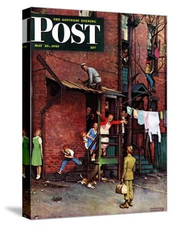 """Homecoming G.I."" Saturday Evening Post Cover, May 26,1945"