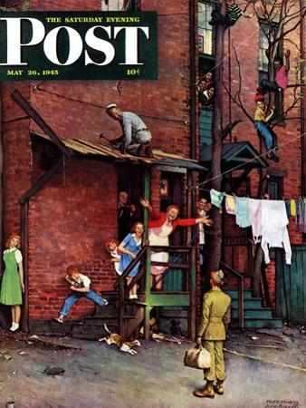 """Homecoming G.I."" Saturday Evening Post Cover, May 26,1945 by Norman Rockwell"