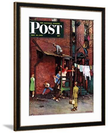 """""""Homecoming G.I."""" Saturday Evening Post Cover, May 26,1945 by Norman Rockwell"""