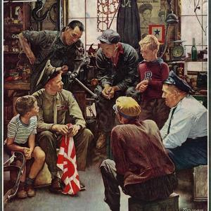 """Homecoming Marine"", October 13,1945 by Norman Rockwell"