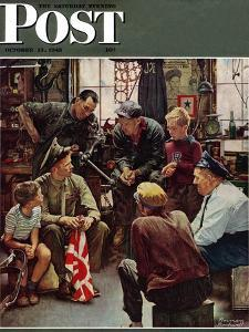 """Homecoming Marine"" Saturday Evening Post Cover, October 13,1945 by Norman Rockwell"