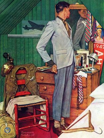 """Imperfect Fit"", December 15,1945 by Norman Rockwell"
