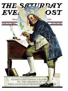 """Independence"" or ""Ben Franklin"" Saturday Evening Post Cover, May 29,1926 by Norman Rockwell"
