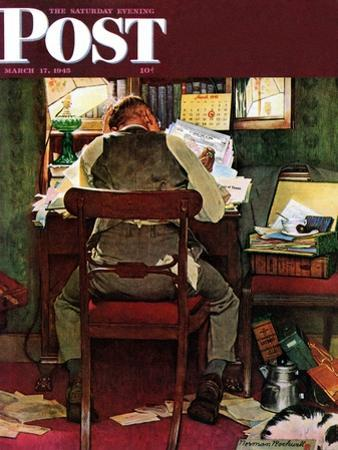 """""""It's Income Tax Time Again!"""" Saturday Evening Post Cover, March 17,1945 by Norman Rockwell"""