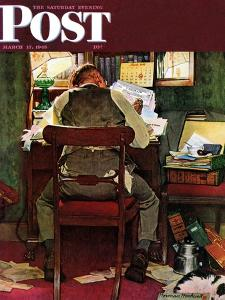 """It's Income Tax Time Again!"" Saturday Evening Post Cover, March 17,1945 by Norman Rockwell"