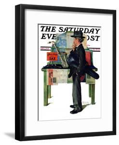 """""""Jazz It Up"""" or """"Saxophone"""" Saturday Evening Post Cover, November 2,1929 by Norman Rockwell"""
