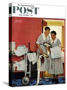 """""""Just Married"""" (hotel maids and confetti) Saturday Evening Post Cover, June 29,1957 by Norman Rockwell"""