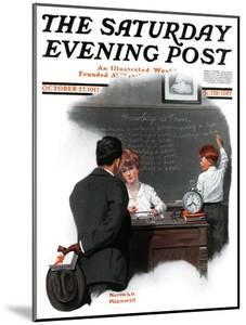 """""""Knowledge is Power"""" Saturday Evening Post Cover, October 27,1917 by Norman Rockwell"""