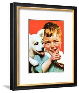 Laughing Boy with Sandwich and Puppy by Norman Rockwell