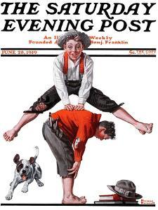 """Leapfrog"" Saturday Evening Post Cover, June 28,1919 by Norman Rockwell"