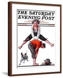 """""""Leapfrog"""" Saturday Evening Post Cover, June 28,1919 by Norman Rockwell"""