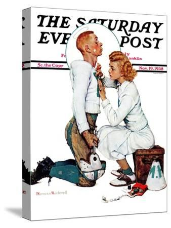 """Letter Sweater"" (boy & girl) Saturday Evening Post Cover, November 19,1938"