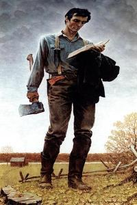Lincoln the Railsplitter (or Young Woodcutter) by Norman Rockwell