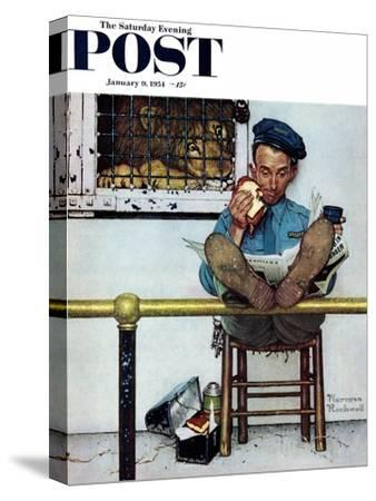 """""""Lion and His Keeper"""" Saturday Evening Post Cover, January 9,1954"""