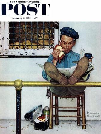 """Lion and His Keeper"" Saturday Evening Post Cover, January 9,1954 by Norman Rockwell"