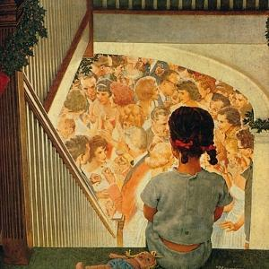 Little Girl Looking Downstairs at Christmas Party by Norman Rockwell