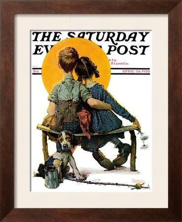 """""""Little Spooners"""" or """"Sunset"""" Saturday Evening Post Cover, April 24,1926"""