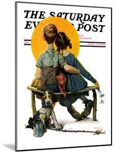 """""""Little Spooners"""" or """"Sunset"""" Saturday Evening Post Cover, April 24,1926 by Norman Rockwell"""