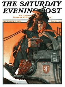 """""""London Coach"""" Saturday Evening Post Cover, December 5,1925 by Norman Rockwell"""