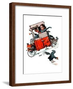 """""""Look Out Below"""" or """"Downhill Daring"""", January 9,1926 by Norman Rockwell"""