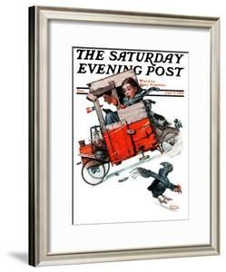"""""""Look Out Below"""" or """"Downhill Daring"""" Saturday Evening Post Cover, January 9,1926 by Norman Rockwell"""