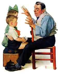 """Magician"" or ""Card Tricks"", March 22,1930 by Norman Rockwell"