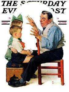 """""""Magician"""" or """"Card Tricks"""" Saturday Evening Post Cover, March 22,1930 by Norman Rockwell"""