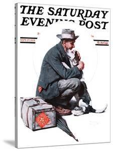 """""""Man and Dog"""" or """"Pals"""" Saturday Evening Post Cover, September 27,1924 by Norman Rockwell"""
