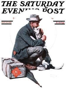 """Man and Dog"" or ""Pals"" Saturday Evening Post Cover, September 27,1924 by Norman Rockwell"