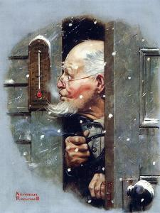 Man Reading Thermometer (or Fifteen Below Zero) by Norman Rockwell