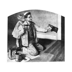 Man Varnishing Doll's Bed for Little Girl by Norman Rockwell