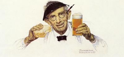 Man with Sandwich and Glass of Beer by Norman Rockwell