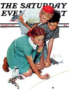 """Marble Champion"" or ""Marbles Champ"" Saturday Evening Post Cover, September 2,1939 by Norman Rockwell"