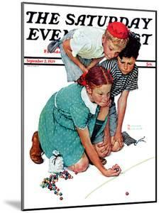 """""""Marble Champion"""" or """"Marbles Champ"""" Saturday Evening Post Cover, September 2,1939 by Norman Rockwell"""