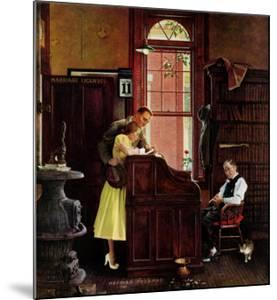 """Marriage License"" Saturday Evening Post Cover, June 11,1955 by Norman Rockwell"