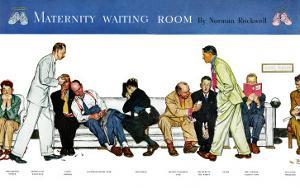 """""""Maternity Waiting Room"""", July 13,1946 by Norman Rockwell"""