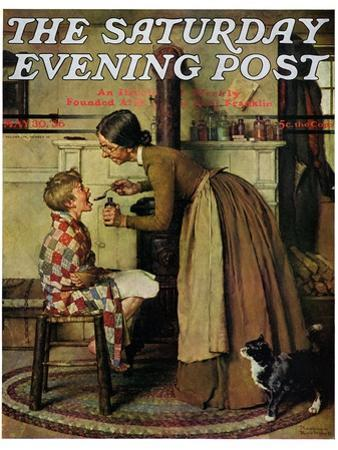 """""""Medicine Giver"""" """"Take Your Medicine"""" Saturday Evening Post Cover, May 30,1936"""