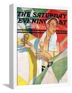 """""""Melting Ice Cream"""" or """"Joys of Summer"""" Saturday Evening Post Cover, July 13,1940 by Norman Rockwell"""