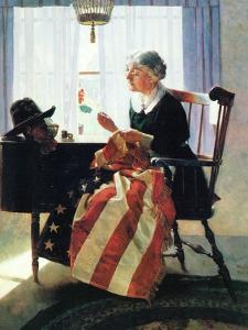 Mending the Flag by Norman Rockwell