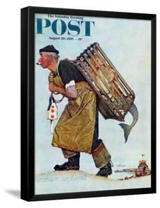 """""""Mermaid"""" or """"Lobsterman"""" Saturday Evening Post Cover, August 20,1955 by Norman Rockwell"""